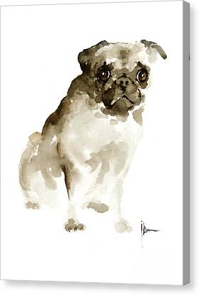 Pug Dog Painting Watercolor Art Print Dog Large Poster Canvas Print by Joanna Szmerdt