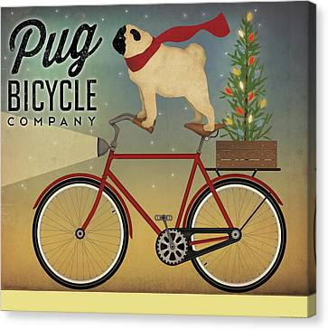 Christmas Dog Canvas Print - Pug On A Bike Christmas by Ryan Fowler