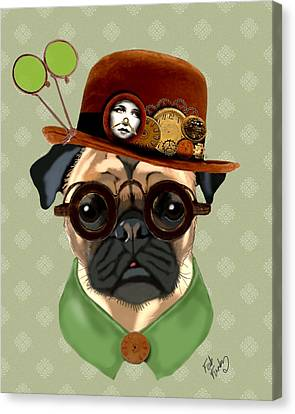 Pug Steampunk In A Bowler Hat Canvas Print by Kelly McLaughlan