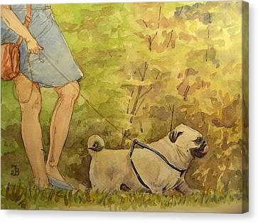 Pug Walkign Canvas Print