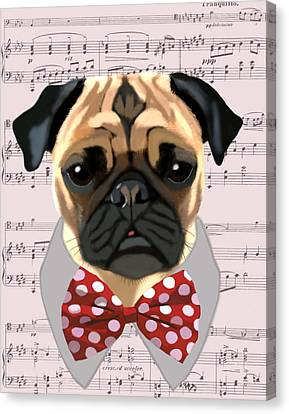 Pug With Bow Tie Canvas Print by Kelly McLaughlan