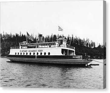 Land Feature Canvas Print - Puget Sound Ferry Boat by Underwood Archives