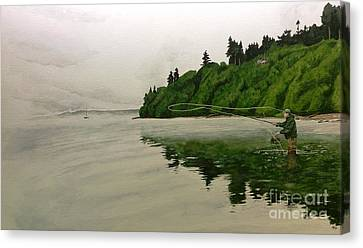 Puget Sound On The Fly Canvas Print by Jason Bordash