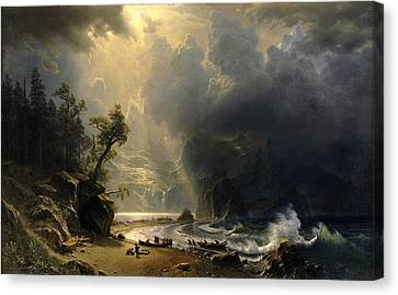 Stormy Canvas Print - Puget Sound On The Pacific Coast by Albert Bierstadt