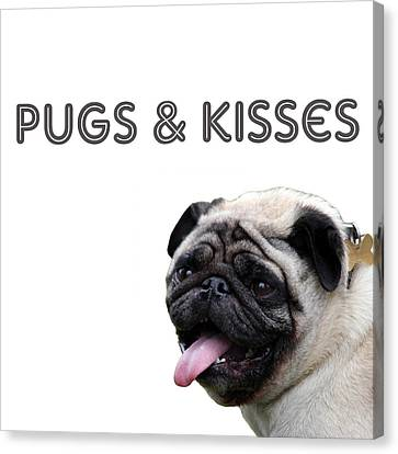 Pugs And Kisses Canvas Print by Celestial Images