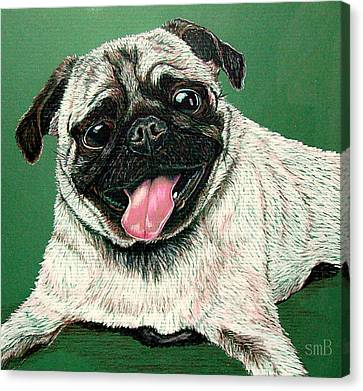 Pugs And Kisses Canvas Print by Susan Bergstrom