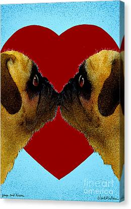 Pugs And Kisses... Canvas Print by Will Bullas