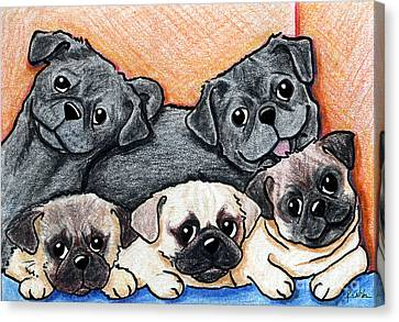 Pugs Party Of Five Canvas Print by Kim Niles