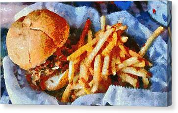 Pulled Pork Sandwich And French Fries Canvas Print by Dan Sproul