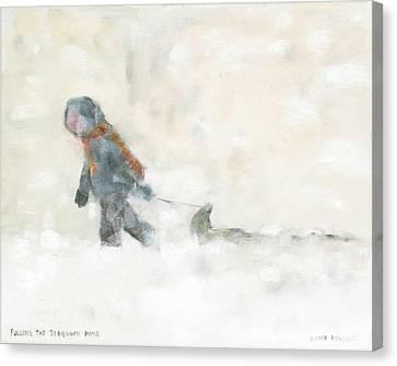 Pulling The Toboggan Home Canvas Print by David Dossett