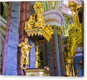 St John The Russian Canvas Print - Pulpit - Cathedral Of Saints Peter And Paul - St Petersburg - Russia by Jon Berghoff
