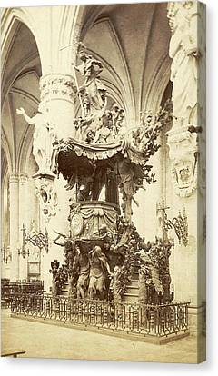 Pulpit In The Cathedral Of Saint Michael And Saint Gudula Canvas Print by Artokoloro