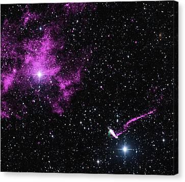 Pulsar Wind Nebula And Jet Canvas Print by Nasa/cxc/isdc/l.pavan Et Al/csiro/atnf/atca/2mass/umass/ipac-caltech/nsf