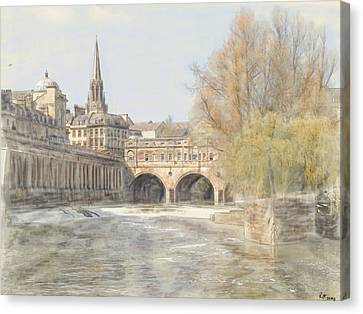 Canvas Print featuring the digital art Pulteney Bridge Bath by Ron Harpham