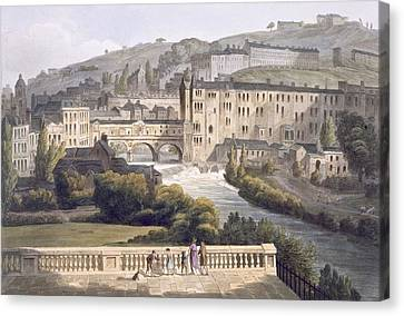 Pulteney Bridge, From Bath Illustrated Canvas Print by John Claude Nattes