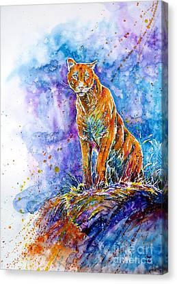Puma. Listening To The Sounds Of The Mountains.  Canvas Print by Zaira Dzhaubaeva