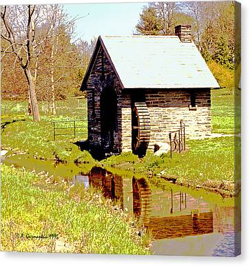 Pump House And Water Wheel In Autumn Digital Art Canvas Print by A Gurmankin