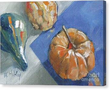 Pumpkin And Gourds Still Life Canvas Print by Mary Hubley