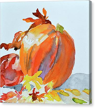 Canvas Print featuring the painting Pumpkin And Pomegranate by Beverley Harper Tinsley