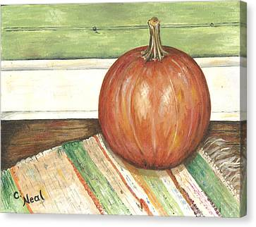 Pumpkin On A Rag Rug Canvas Print