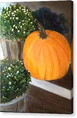 Pumpkin On Doorstep Canvas Print