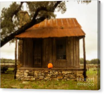 Pumpkin Porch Canvas Print by Sonja Quintero