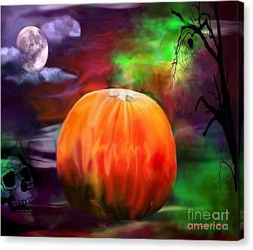 Pumpkin Skull Spider And Moon Halloween Art Canvas Print