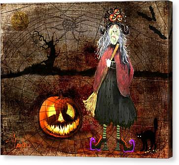 Pumpkinella The Magical Good Witch And Her Magical Cat Canvas Print by Colleen Taylor