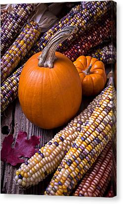Red Leaf Canvas Print - Pumpkins And Corn by Garry Gay