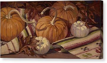 Pumpkins And Leaves Canvas Print
