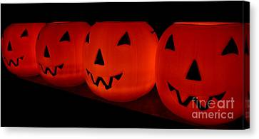 Pumpkins Lined Up Canvas Print