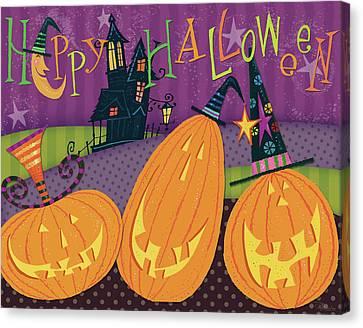 Pumpkins Night Out - Happy Halloween Canvas Print by Pela Studio