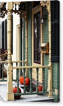 Old School Houses Canvas Print - Pumpkins On The Porch by John Rizzuto