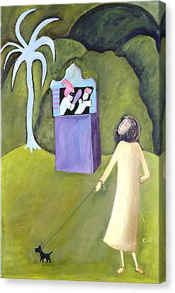 Punch And Judy, 1983 Oil On Canvas Canvas Print by Celia Washington