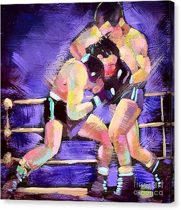 Canvas Print featuring the painting Punch Out by Robert Phelps