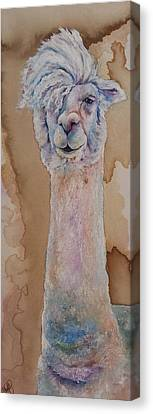 Canvas Print featuring the painting Punk Rock Alpaca by Christy  Freeman