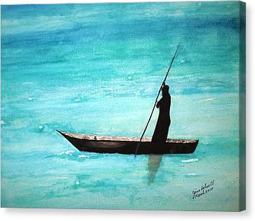 Punt Zanzibar Boat Canvas Print by June Holwell