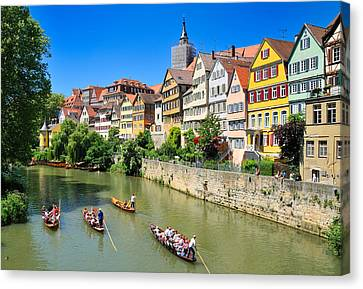 Punts On River Neckar In Lovely Old Tuebingen Germany Canvas Print