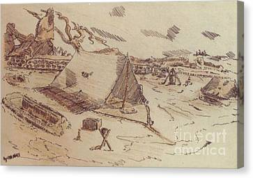 Ww Ii Canvas Print - Pup Tents 167th General Hospital Cherbourg France Ww II by David Neace