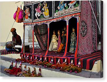 Puppet Show City Palace Jaipur India Canvas Print by Diane Lent