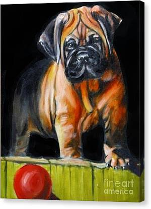 Puppy And Her Red Ball Canvas Print