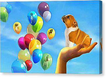 Puppy Balloon-a-gram Canvas Print by Anthony Caruso