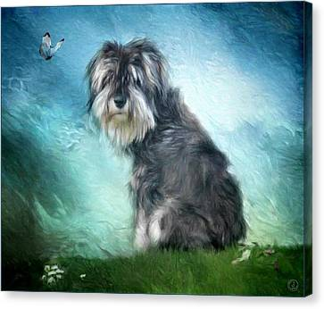 Puppy Explores The World Canvas Print by Gun Legler