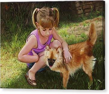Canvas Print featuring the painting Puppy Love by Glenn Beasley