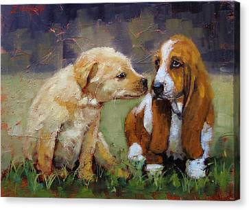Puppy Love Canvas Print by Laura Lee Zanghetti
