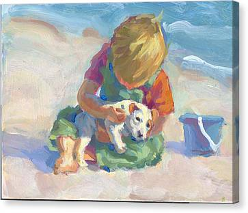 Puppy Love Canvas Print by Lucelle Raad
