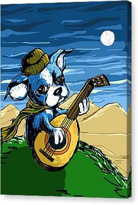 Puppy Serenade Canvas Print by Devin Hermanson