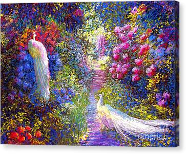 White Birds Canvas Print -  White Peacocks, Pure Bliss by Jane Small