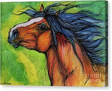 Bay Horse Canvas Print - Pure Joy by Angel  Tarantella