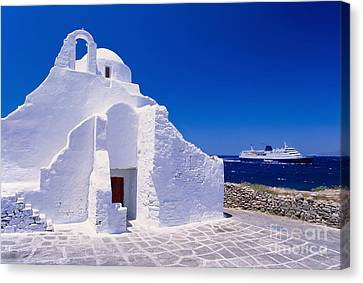 Pure White Church Canvas Print by Aiolos Greek Collections